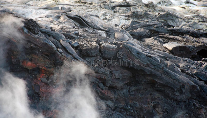 Flux de lave de volcan de Kilauea, Hawaï images libres de droits