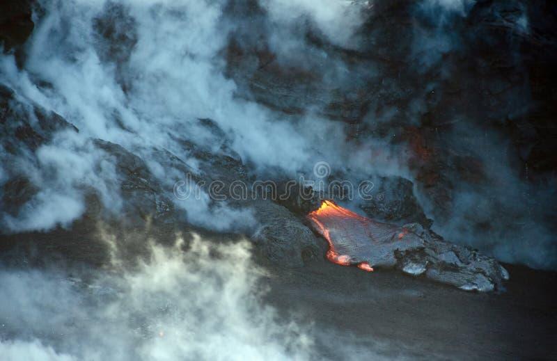 Flux de lave de volcan de Kilauea, Hawaï photos libres de droits