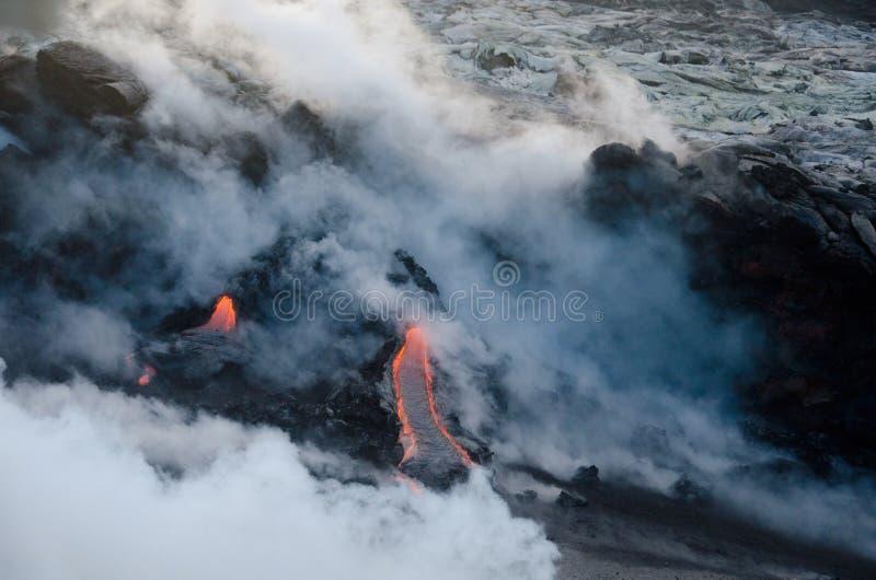 Flux de lave de volcan de Kilauea, Hawaï images stock