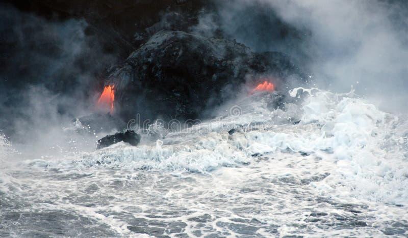 Flux de lave de volcan de Kilauea, Hawaï image libre de droits