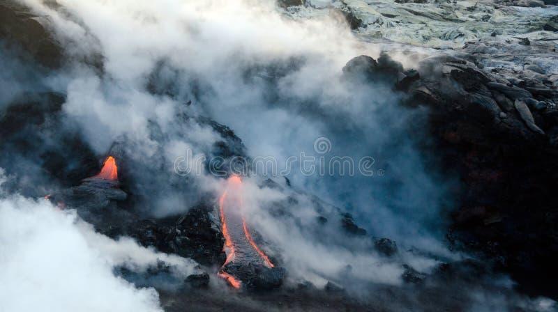Flux de lave de volcan de Kilauea, Hawaï image stock