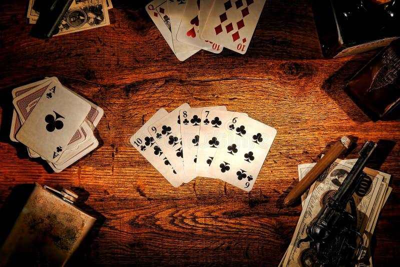 Flux droit jeu de poker occidental américain de légende de vieux photographie stock libre de droits