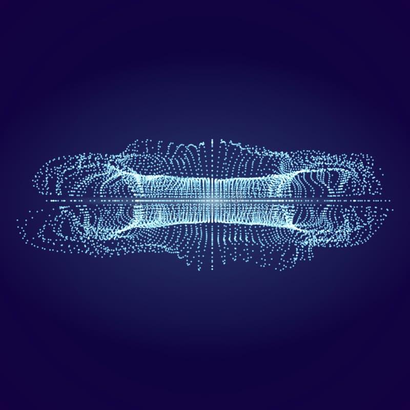 Fluxo abstrato das partículas 3d no Cyberspace Ilustra??o do vetor ilustração stock