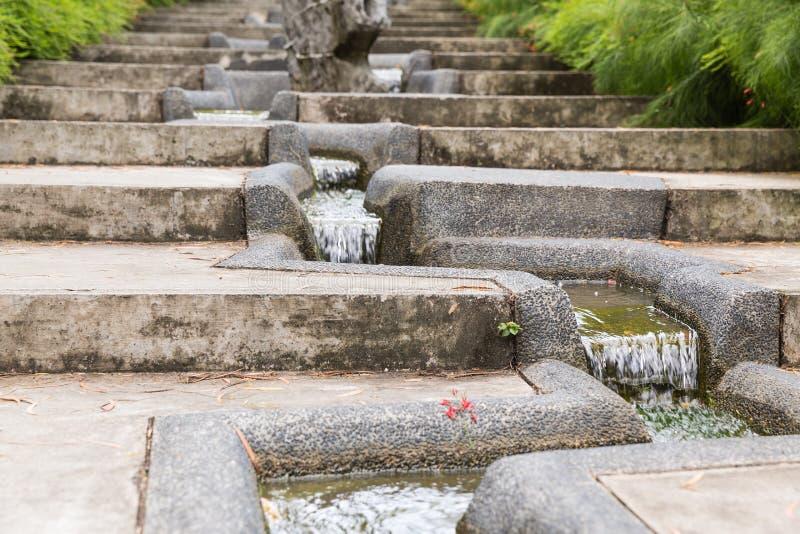 Fluxo calmo da água em um jardim asiático em Ásia fotos de stock