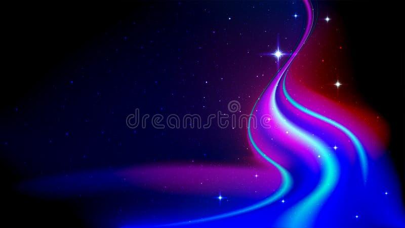 Fluxo da energia abstrata no espaço, aurora borealis, na perspectiva do céu estrelado ilustração royalty free
