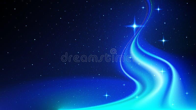 Fluxo da energia abstrata no espaço, contra o fundo do céu estrelado ilustração stock