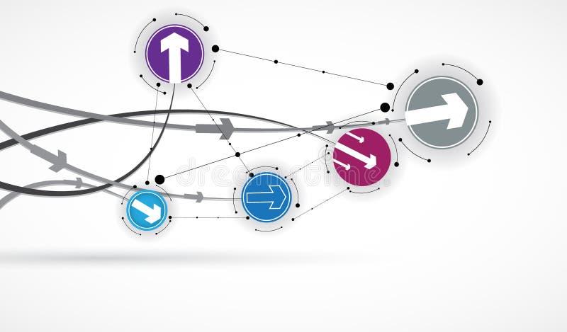 Fluxo das setas Imaginação do processo do negócio ou da tecnologia ilustração stock
