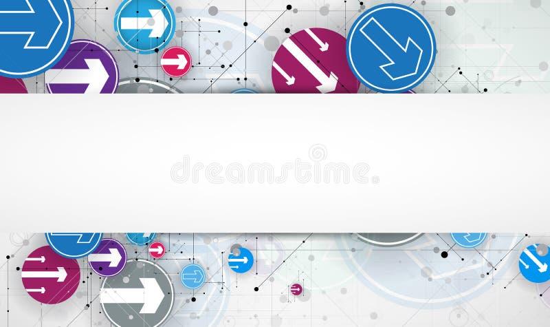 Fluxo das setas Imaginação do processo do negócio ou da tecnologia V ilustração stock