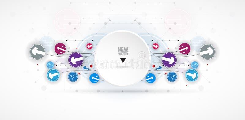 Fluxo das setas Imaginação do processo do negócio ou da tecnologia V ilustração do vetor