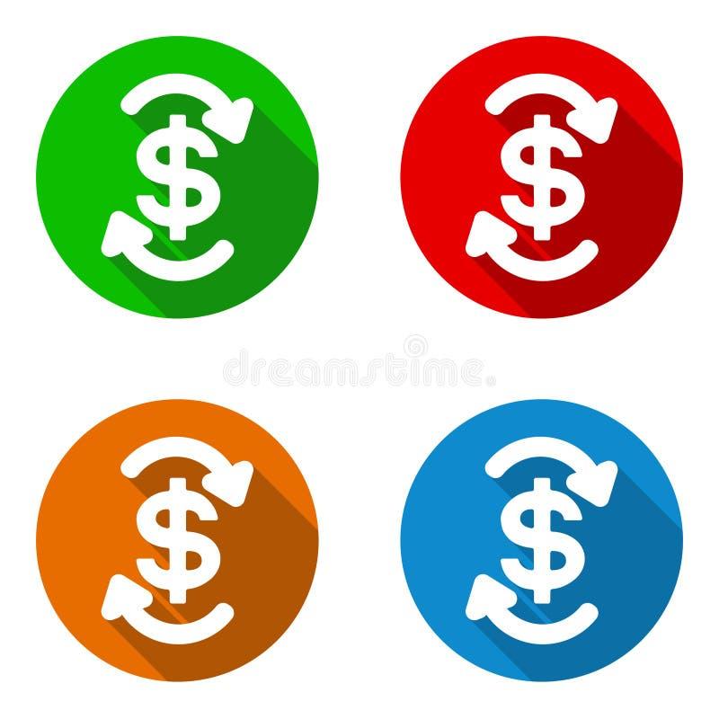 Fluxo de caixa liso colorido ajustado dos ícones do vetor ilustração royalty free