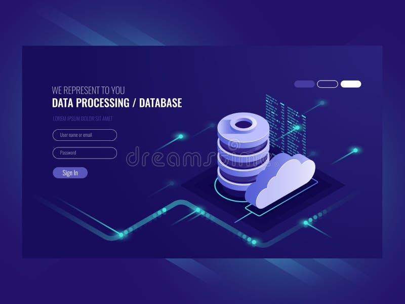 Fluxo de dados grande que processa o conceito, o base de dados da nuvem, ícones isométricos da sala do vetor, do alojamento web e foto de stock