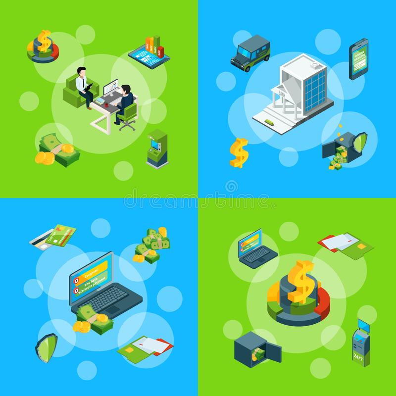 Fluxo de dinheiro isométrico do vetor em ilustração ajustada do conceito infographic dos ícones do banco ilustração royalty free