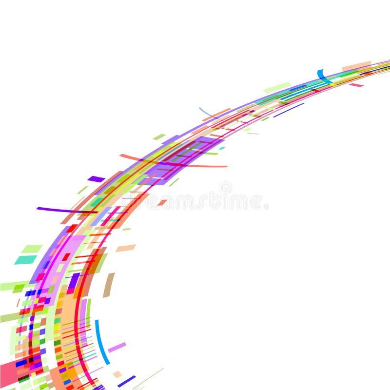 Fluxo de formas geométricas coloridas em um contexto branco ilustração stock