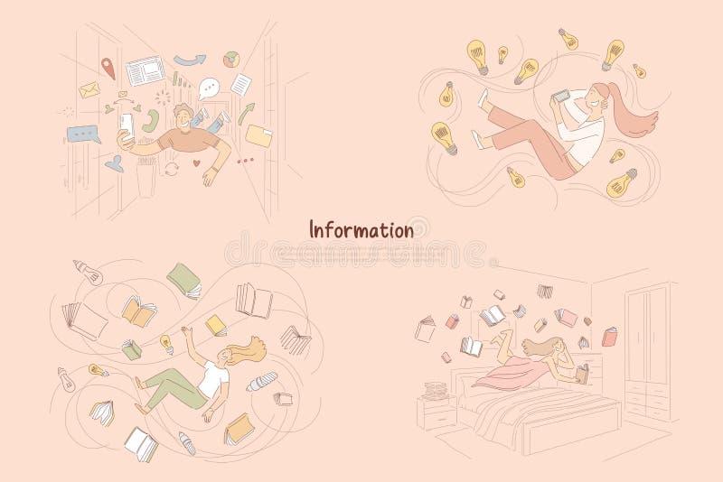 Fluxo de informação, tradicional contra fontes modernas de conhecimento, leitura dos povos, bandeira em linha de conversa ilustração stock