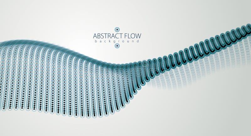 Fluxo dinâmico da onda sadia das partículas Pontos e círculos borrados v ilustração stock