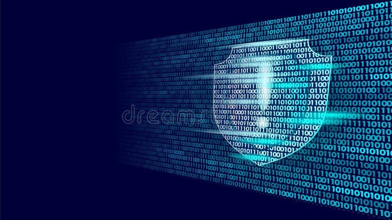 Fluxo do código binário de sistema de segurança do protetor do protetor Conceito grande do negócio do antivirus do computador do  ilustração stock