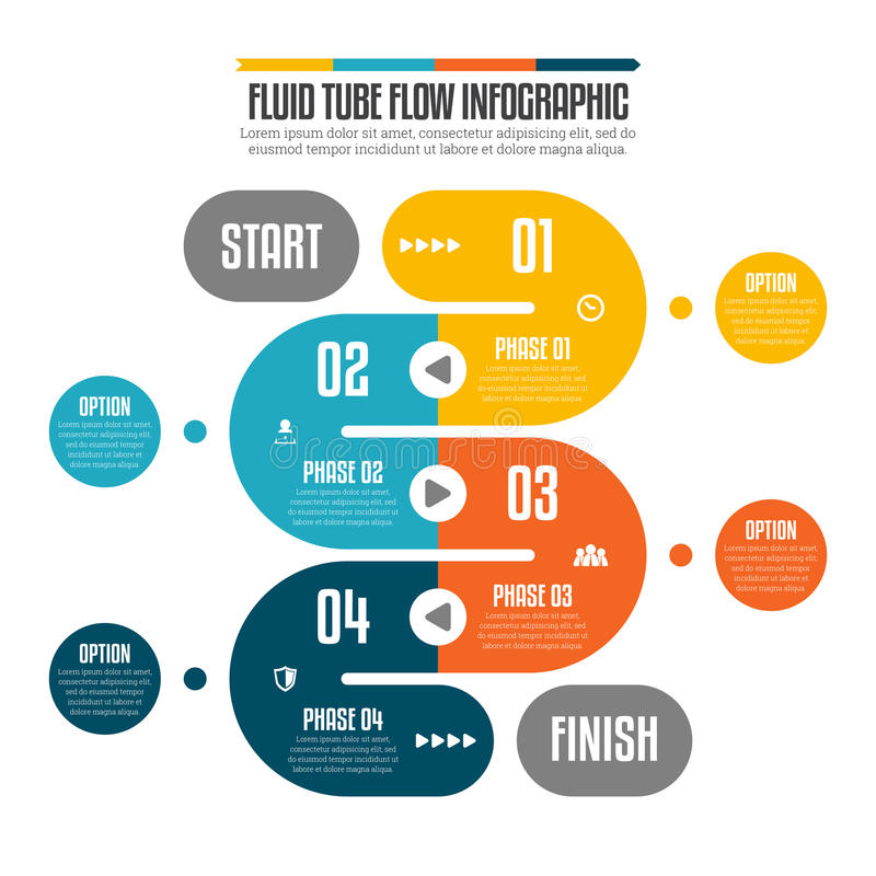 Fluxo fluido Infographic do tubo ilustração do vetor