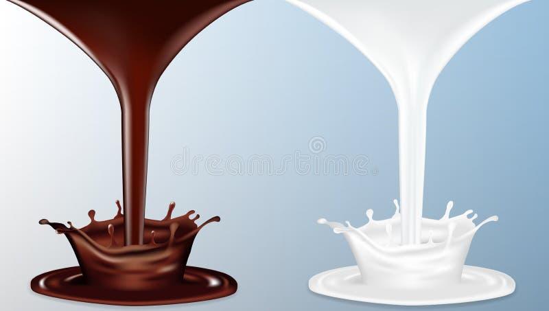 Fluxo realístico do chocolate e do leite com respingo ilustração stock