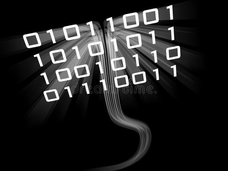 Fluxo Sinuous dos dados do código binário ilustração do vetor