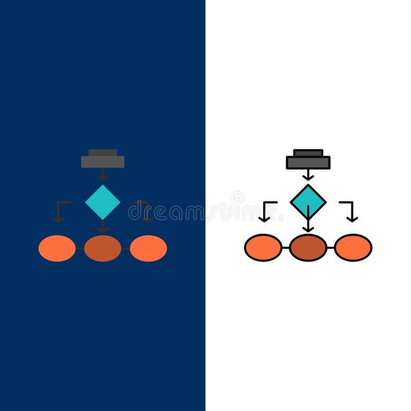 Fluxograma, algoritmo, negócio, arquitetura dos dados, esquema, estrutura, ícones dos trabalhos Plano e linha azul enchido do vet ilustração royalty free