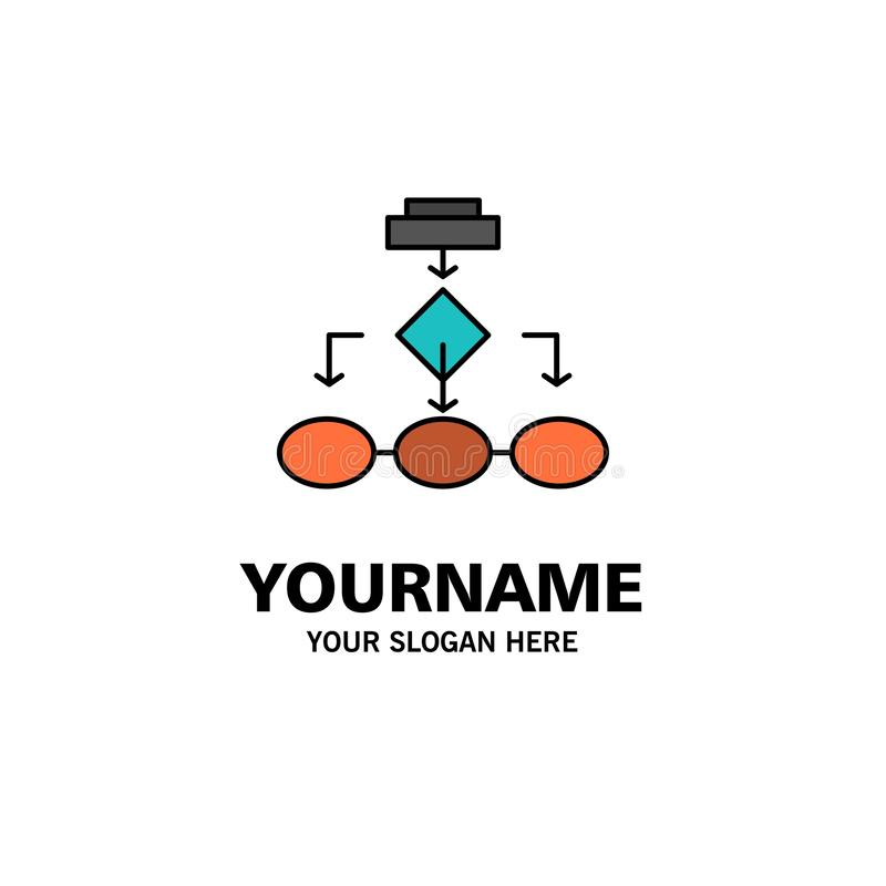Fluxograma, algoritmo, negócio, arquitetura dos dados, esquema, estrutura, negócio Logo Template dos trabalhos cor lisa ilustração do vetor