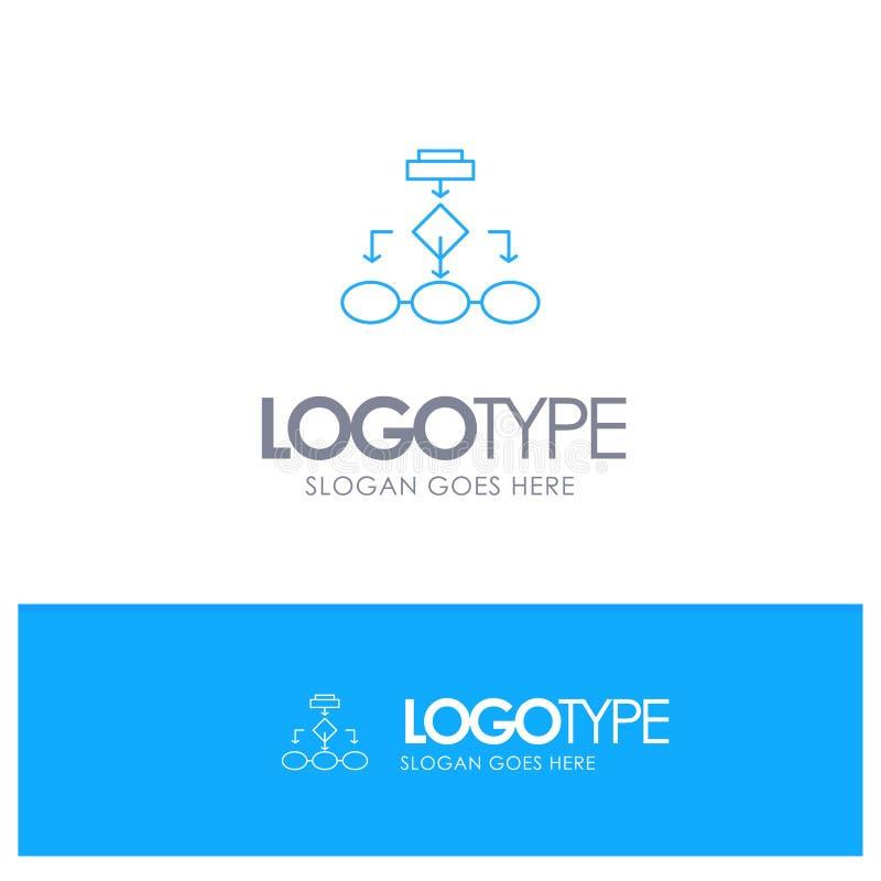 Fluxograma, algoritmo, negócio, arquitetura dos dados, esquema, estrutura, logotipo azul do esboço dos trabalhos com lugar para o ilustração stock