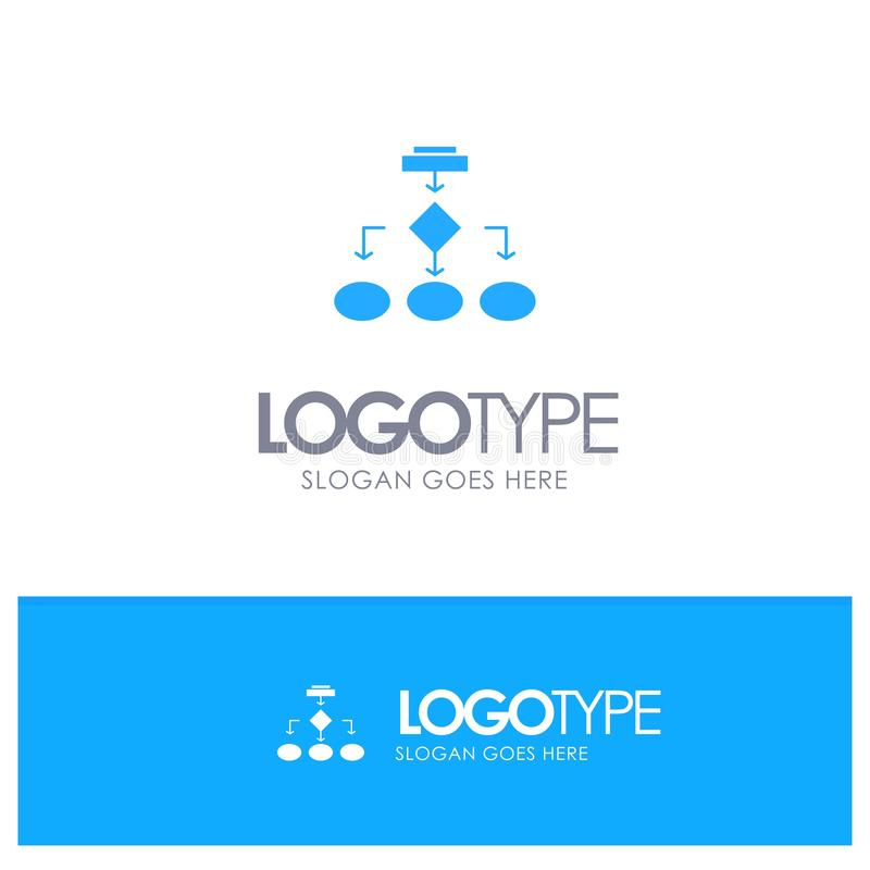 Fluxograma, algoritmo, negócio, arquitetura dos dados, esquema, estrutura, logotipo contínuo azul dos trabalhos com lugar para o  ilustração do vetor