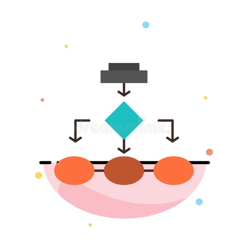 Fluxograma, algoritmo, negócio, arquitetura dos dados, esquema, estrutura, molde liso do ícone da cor do sumário dos trabalhos ilustração do vetor