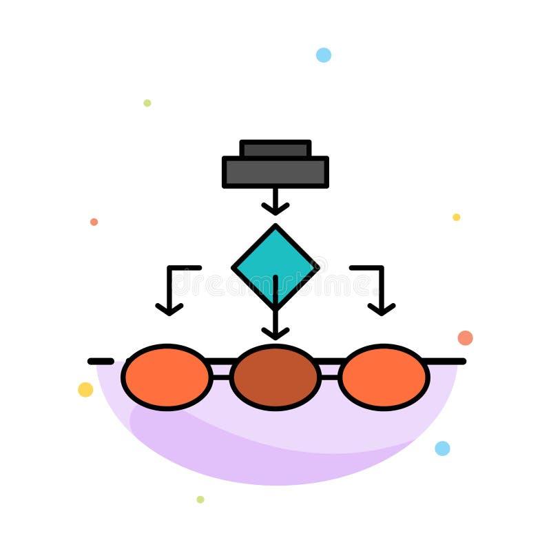 Fluxograma, algoritmo, negócio, arquitetura dos dados, esquema, estrutura, molde liso do ícone da cor do sumário dos trabalhos ilustração royalty free