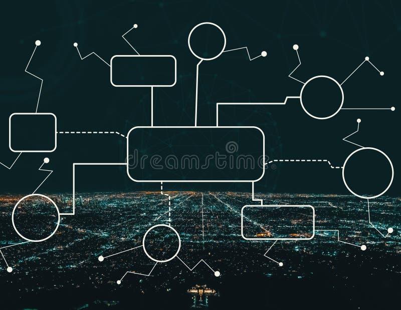Fluxograma com Los Angeles do centro ilustração do vetor