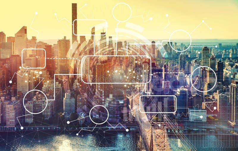 Fluxograma com vista aérea de Manhattan, NY ilustração do vetor