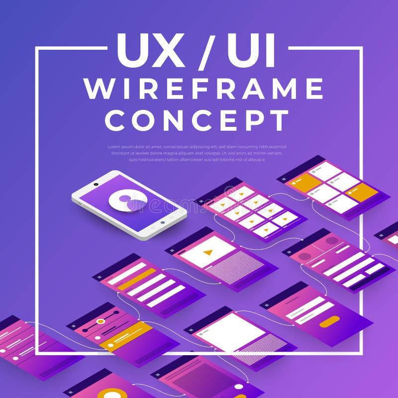 Fluxograma de UX UI Conceito móvel da aplicação dos modelos isométrico ilustração do vetor