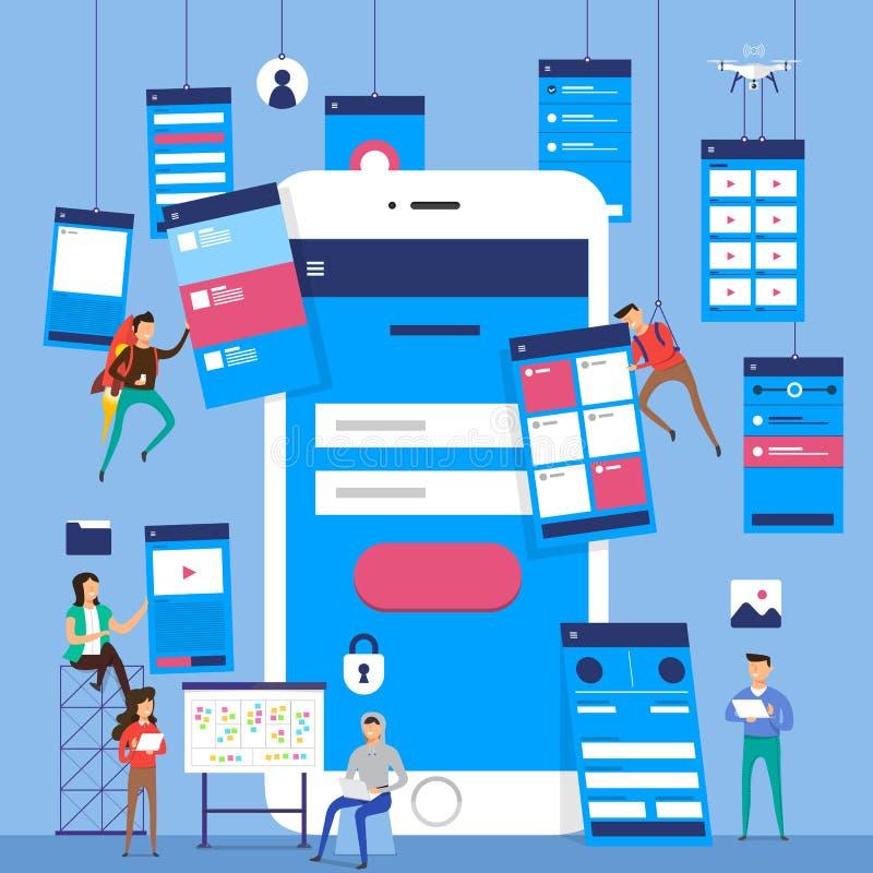 Fluxograma de UX UI Do conceito móvel da aplicação dos modelos desig liso ilustração stock
