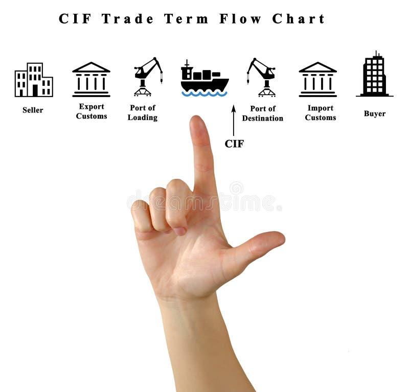 Fluxograma do termo do comércio do CIF foto de stock royalty free