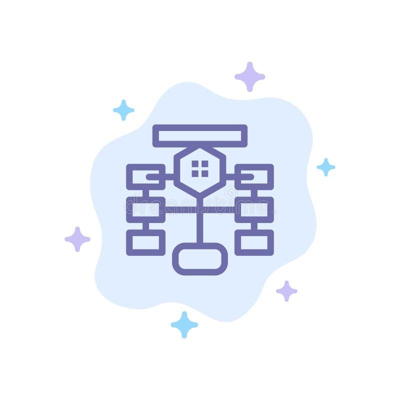 Fluxograma, fluxo, carta, dados, ícone azul do banco de dados no fundo abstrato da nuvem ilustração royalty free