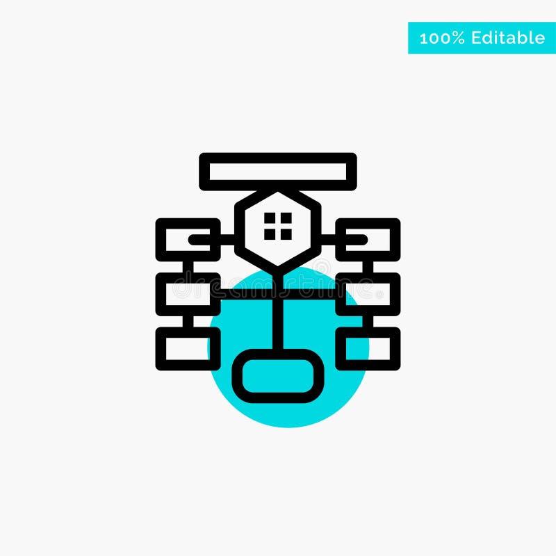 Fluxograma, fluxo, carta, dados, ícone do vetor do ponto do círculo do destaque de turquesa do banco de dados ilustração do vetor