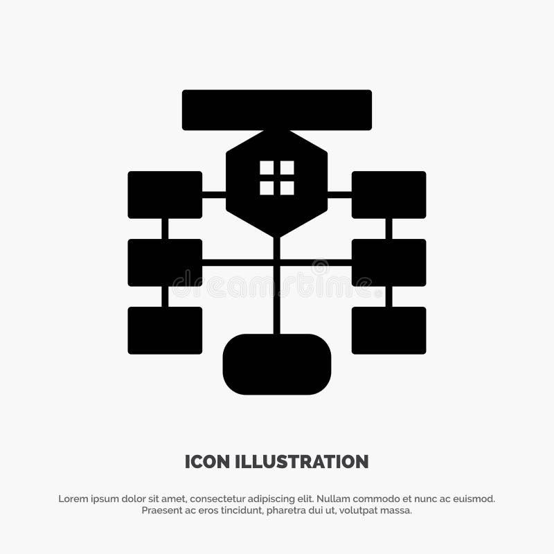 Fluxograma, fluxo, carta, dados, ícone preto contínuo do Glyph do banco de dados ilustração stock