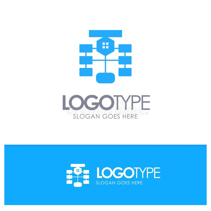 Fluxograma, Fluxo, Gráfico, Dados, Vetor de Logotipo Azul de Banco de Dados ilustração do vetor