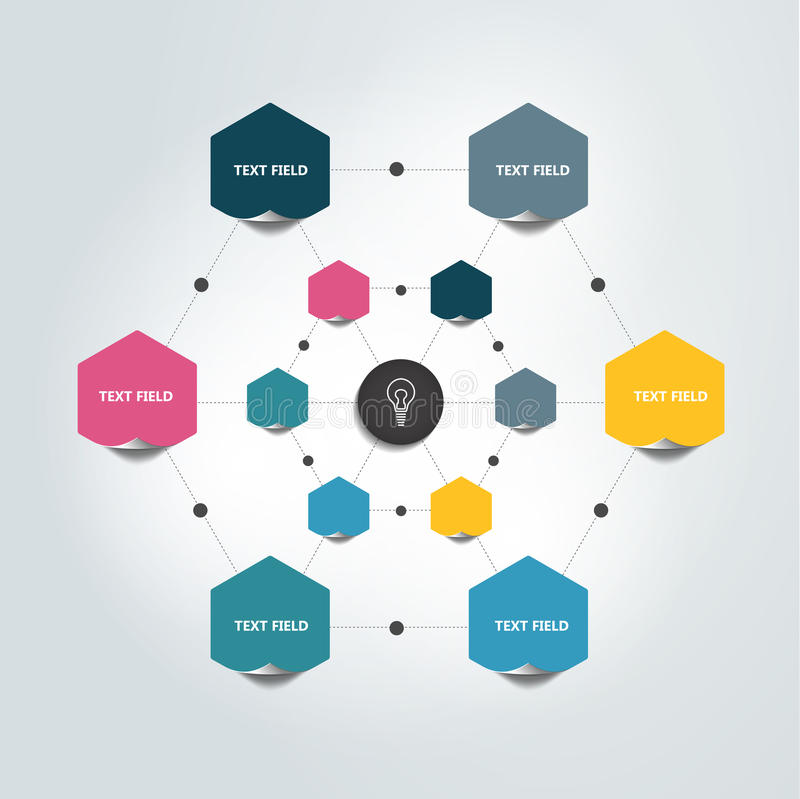 Fluxograma Infographic Carta dos círculos de cor ilustração stock