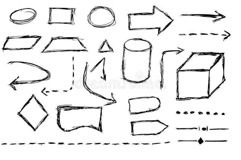 Fluxograma - pena preta ilustração stock