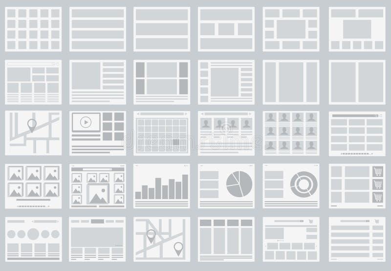 Fluxogramas do Web site, disposições das abas, infographics, mapas ilustração stock