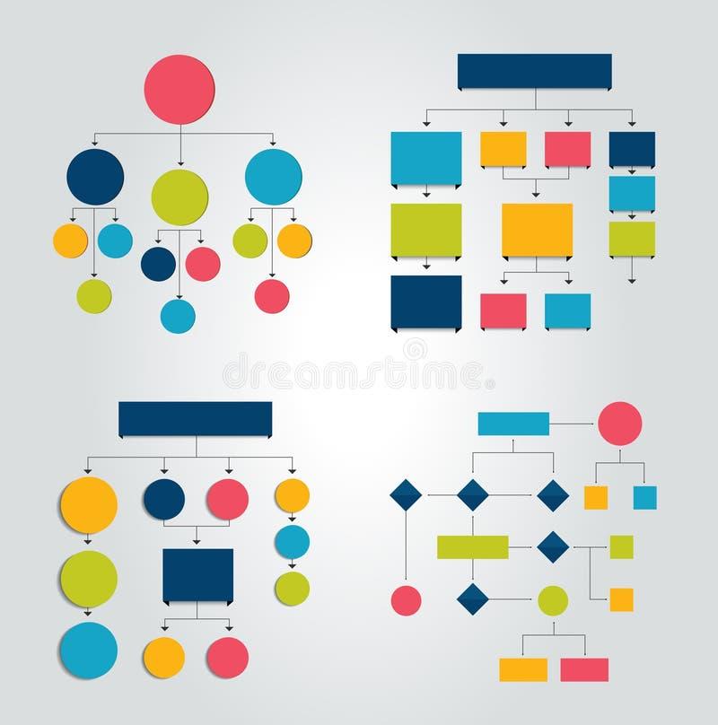 fluxogramas Grupo de 6 esquemas dos fluxogramas, diagramas ilustração royalty free