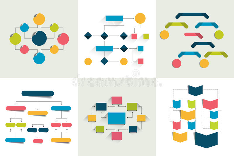 fluxogramas Grupo de 6 esquemas dos fluxogramas, diagramas Simplesmente cor editável ilustração royalty free