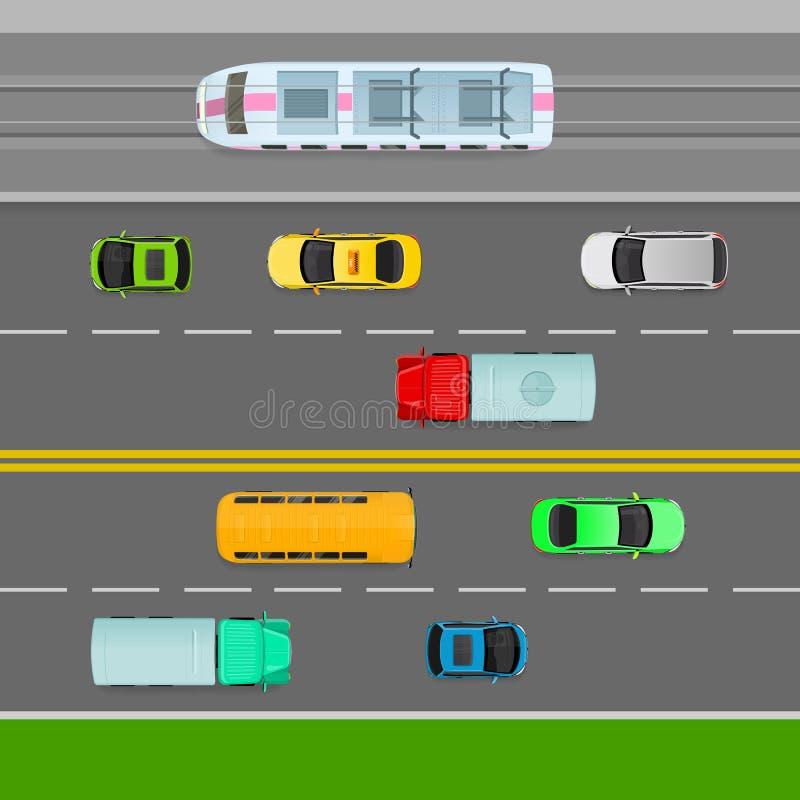 Fluxos de tráfego do lado esquerdo da estrada Pista em dois sentidos ilustração do vetor