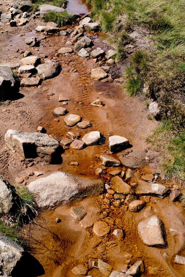 Fluya, fluído, ladera del funcionamiento abajo en el distrito máximo, Derbyshire, Reino Unido foto de archivo