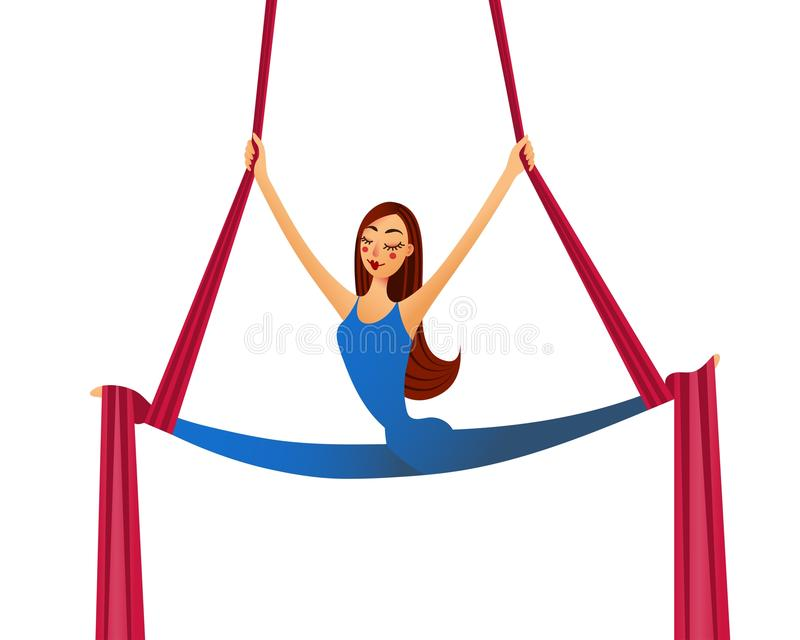 Fly aerial yoga stock illustration