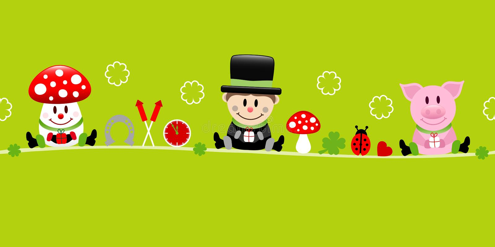Fly Agaric Chimney Sweep And Pig Icons New Years Eve Green. Cute Fly Agaric Chimney Sweep And Pig Icons New Years Eve Green royalty free illustration