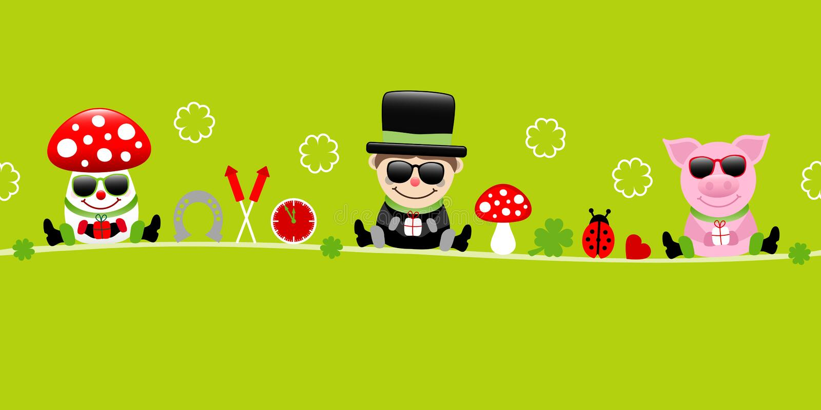 Fly Agaric Chimney Sweep And Pig With Sunglasses Icons New Years Eve Green. Cute Fly Agaric Chimney Sweep And Pig With Sunglasses Icons New Years Eve Green vector illustration
