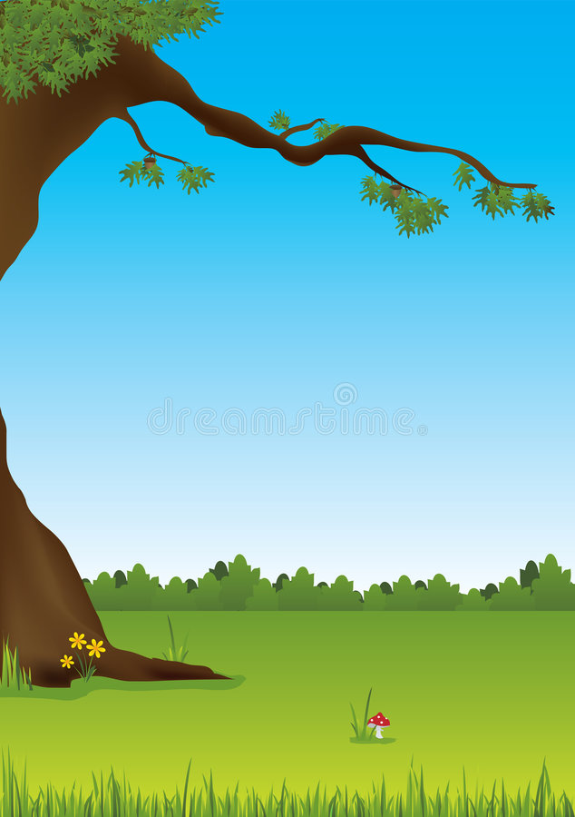 Fly agaric under the tree. Illustration of fly agaric growing under the tree stock illustration