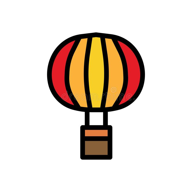 Fly air balloon Summer vector logo icon or illustration. Editable stroke and color. Perfect use for pattern and design graphic stock illustration